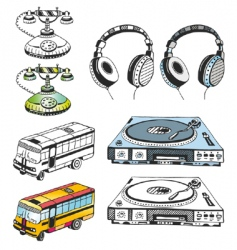 some hand drawn devices vector image