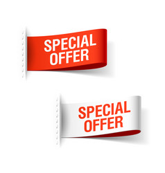 special offer ribbon red and whiite clothing vector image vector image