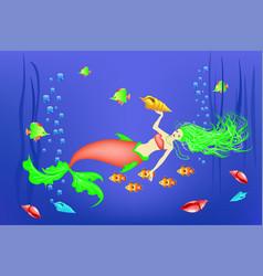 underwater world little mermaid fishes vector image