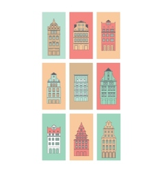 European houses set vector image