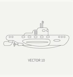 Line flat retro icon naval submarine vector