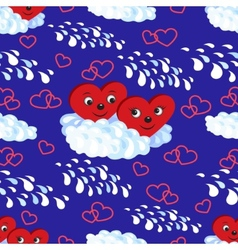 Seamless pattern the hearts on a cloud vector image
