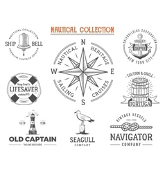 Vintage nautical stamps set Old ship retro style vector image