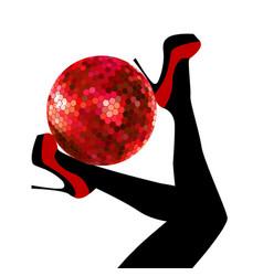 woman legs holding a disco ball vector image