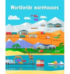 Worldwide Warehouse Design Flat vector image vector image