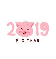 2019 with cute smiling happy vector image