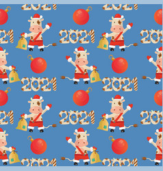 2021 new year seamless pattern with a bull wearing vector image