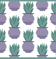 Aloe cactus in pot seamless pattern on white vector