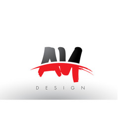 ay a y brush logo letters with red and black vector image