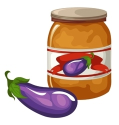 Bank with eggplant caviar on white background vector image
