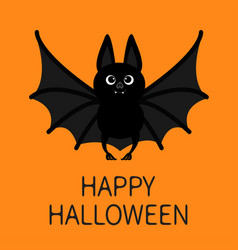 Bat standing flying happy halloween cute cartoon vector