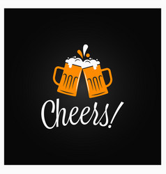 beer cheers banner cheers lettering with beer vector image