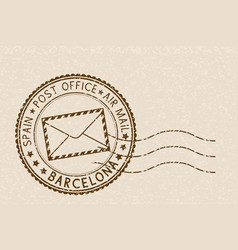 Beige postmark barcelona for envelope with mail vector