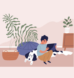 Boy using tablet pc and surfing internet at home vector