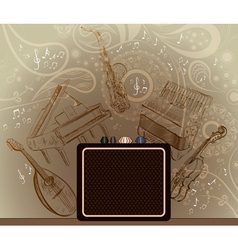 Brown Background with Musical Instruments vector