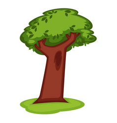 cartoon green tree with massive trunk on grass vector image