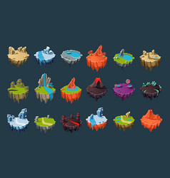 Cartoon isometric islands with volcanoes lakes vector