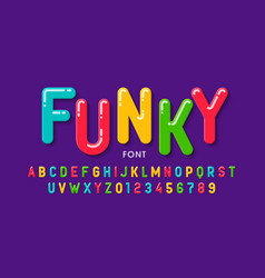 childrens style font design colorful alphabet vector image