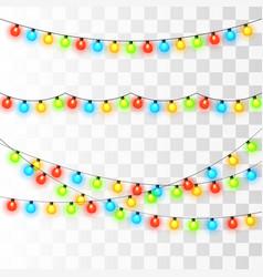 christmas lights colorful xmas garland vector image