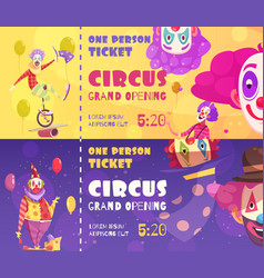 circus tickets clowns banners vector image