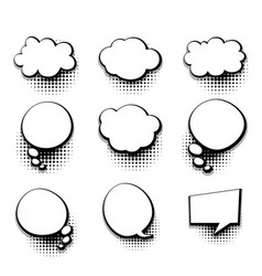 Collection blank template comic text speech bubble vector