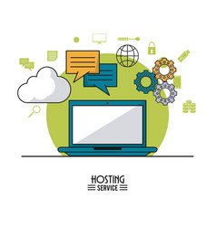 Colorful poster of hosting service with laptop vector