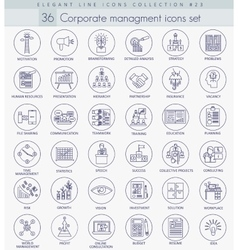 Corporate management outline icon set vector