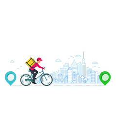 courier takes order around city from store to vector image