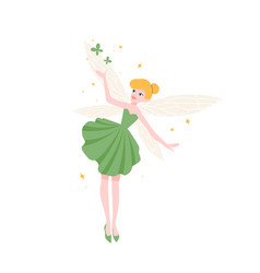 Cute funny fairy in beautiful elegant dress vector