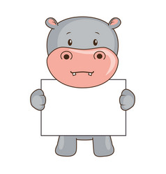 cute hippo with banner character icon vector image