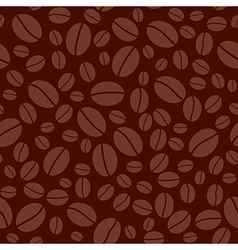 Dark brown seamless pattern with coffee beans vector