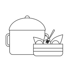 Delicious food concept black and white vector