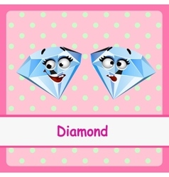 Diamond funny characters on a pink background vector