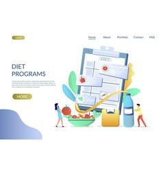 Diet programs website landing page design vector