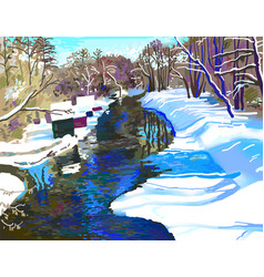 Digital painting of rural landscape with river vector