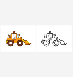 Excavator coloring page for kids digger side view vector