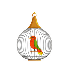 exotic tropical bird in cell of round shape vector image