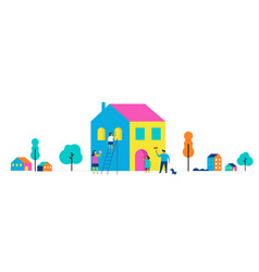 Family is painting home concept design vector