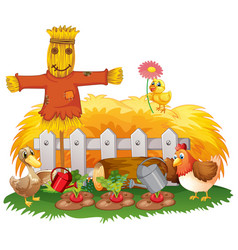 Farm theme background with animals vector