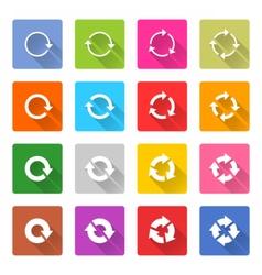 Flat arrow reload icon square web button vector image