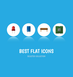 flat icon device set of unit bobbin transistor vector image