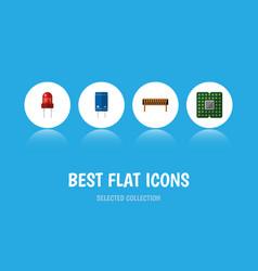 Flat icon device set of unit bobbin transistor vector