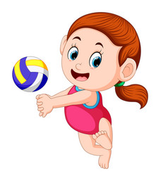 Girl plays the volley ball vector