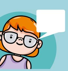 Girl with blank bubble speech cartoon vector