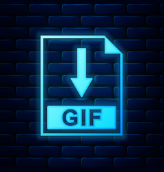 Glowing neon gif file document icon download gif vector