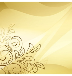 Gold background with floral elements vector