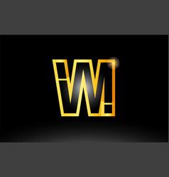 Gold black alphabet letter vm v m logo vector