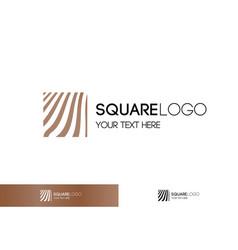 gold linear logo square shape vector image