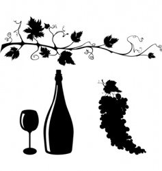 grape and wine silhouettes set vector image