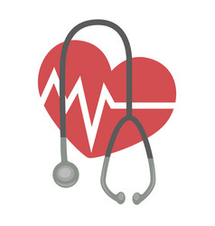 Heart rate and stethoscope medicine and cardiology vector